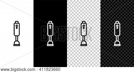 Set Line Blender Icon Isolated On Black And White Background. Kitchen Electric Stationary Blender Wi