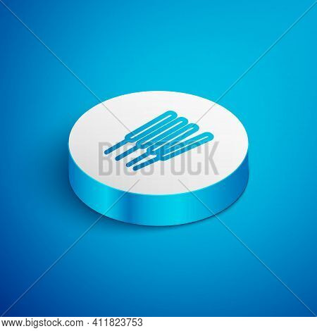 Isometric Line Aroma Sticks, Incense, Aromas Icon Isolated On Blue Background. White Circle Button.