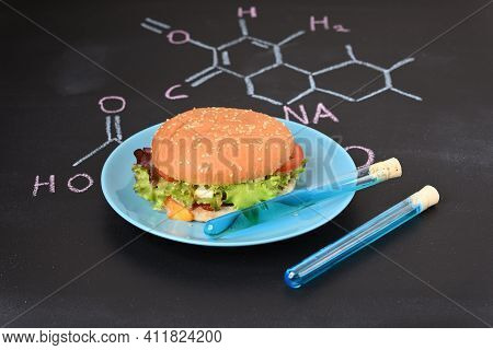 Chemical Additives And Paint In Food, Close Up.