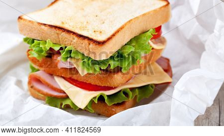 Sandwich With Ham And Vegetables Cheese Sandwich In A Plate Sandwich, Food, Bread, Tomato, Lettuce,