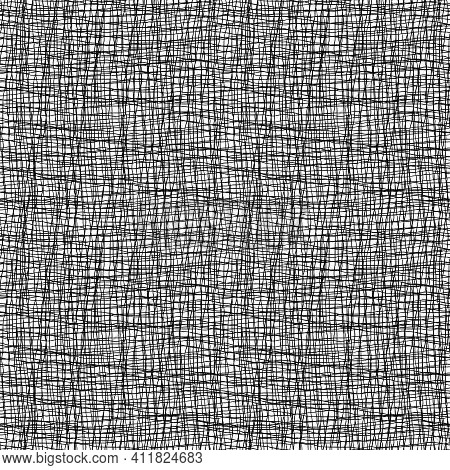 Vector Burlap Effect Seamless Pattern Background. Hessian Fiber Texture Fabric Style Black And White