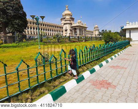 Closeup Of Beautiful The Vidhana Soudha Located In Bangalore, Is The Seat Of The State Legislature O