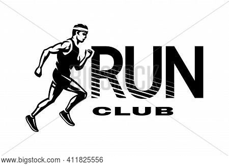 Run Club. The Running Man, Logo, Emblem. Vector Illustration.