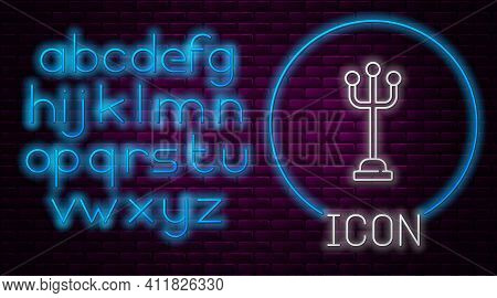 Glowing Neon Line Coat Stand Icon Isolated On Brick Wall Background. Neon Light Alphabet. Vector