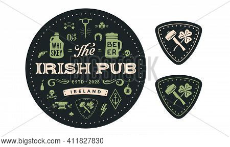 Coaster. Circle Coaster, Text Irish Pub, Beer, Whiskey. Vintage Drawing For Bar, Pub, Beer And Whisk