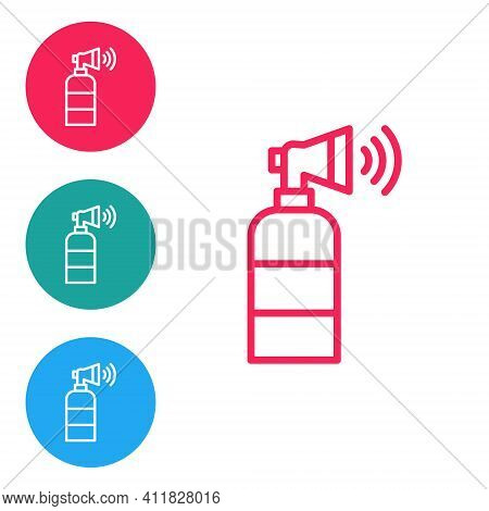 Red Line Air Horn Icon Isolated On White Background. Sport Fans Or Citizens Against Government And C