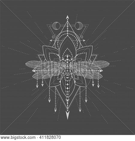 Vector Illustration With Hand Drawn Dragonfly And Sacred Symbol Lotus On Black Background. Abstract