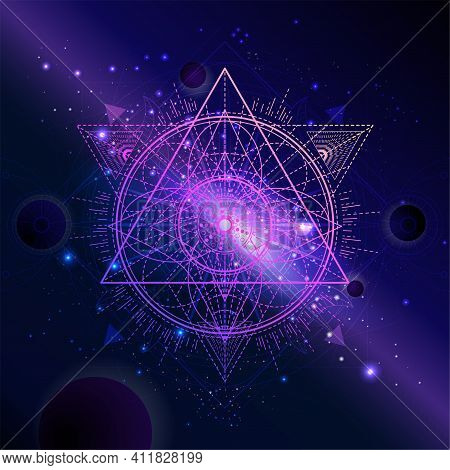 Vector Illustration Of Sacred Geometric Symbol Against The Space Background With Planets And Stars.