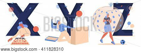 Letter X For Xiangqi, Y For Yukigassen And Z For Zorbing. Sport Capital Characters Isolated On White
