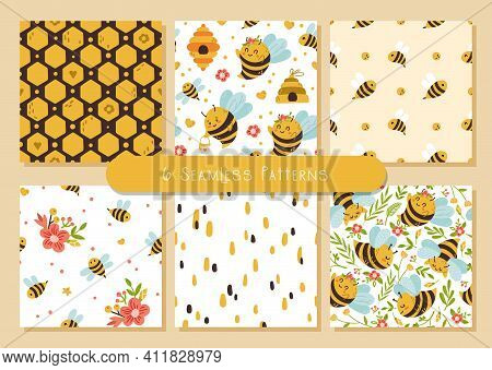 Honey Bee Kids Seamless Patterns Bundle, Cute Bumble Bee Digital Paper, Cartoon Insects And Summer F