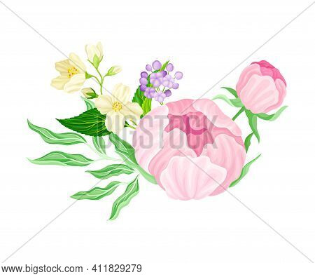 Purple Lush Peony Flower Arranged With Garden Flora Vector Illustration