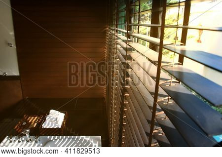 Evening Sun Light Outside Wooden Window Blinds, Sunshine And Shadow On Window Blinds , Decorative In