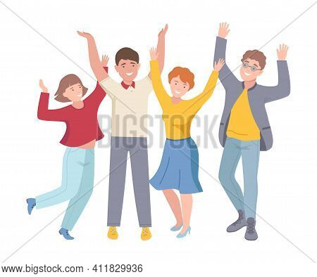 Group Of Joyful People Characters Up With Hands Cheering About Something Vector Illustration