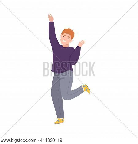 Joyful Man Up With Hands Cheering About Something Vector Illustration