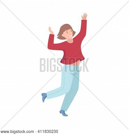 Excited Woman Up With Hands Cheering About Something Vector Illustration