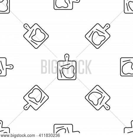Grey Line Cutting Board Icon Isolated Seamless Pattern On White Background. Chopping Board Symbol. V