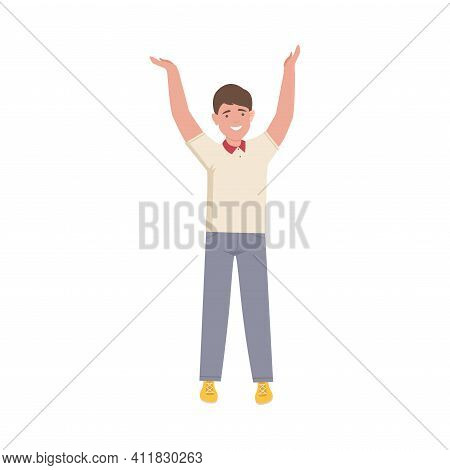 Excited Man Up With Hands Cheering About Something Vector Illustration