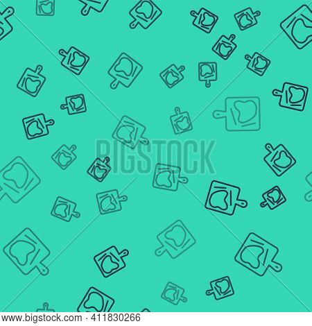 Black Line Cutting Board Icon Isolated Seamless Pattern On Green Background. Chopping Board Symbol.
