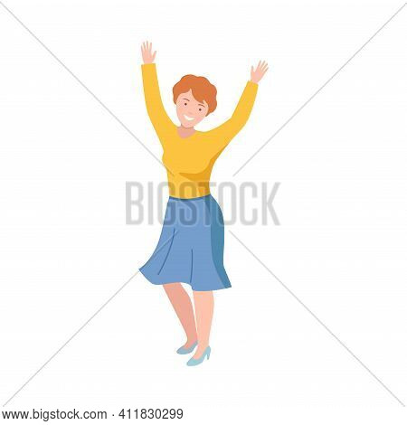 Happy Redhead Woman Standing Raising Up Hands Cheering About Something Vector Illustration