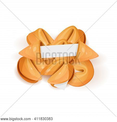 Chinese Fortune Cookies Flat Food Vector Cartoon Set Isolated On White Background Photo-realistic. F