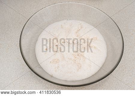 Raw, Ripening Yeast In A Glass Dish, Standing On The Table.