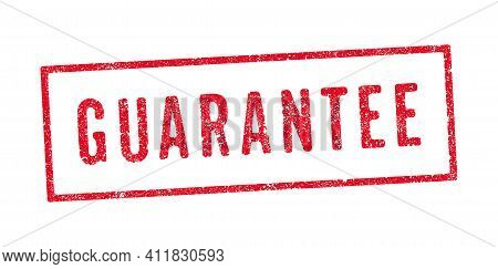 Vector Illustration Of The Word Guarantee In Red Ink Stamp