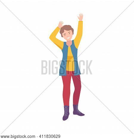 Happy Woman Standing Raising Up Hands Cheering About Something Vector Illustration