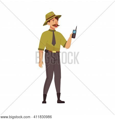 Moustached Man As Park Ranger In Khaki Hat Holding Walkie-talkie Protecting And Preserving National