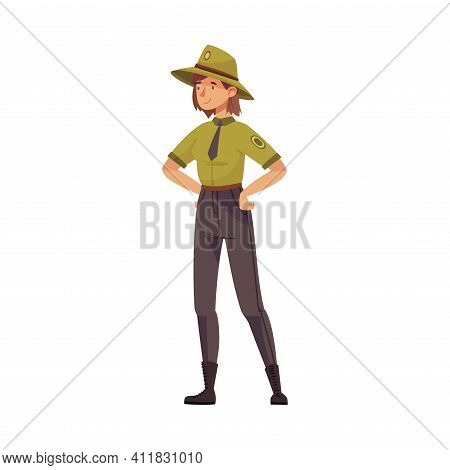 Woman As Park Ranger In Khaki Hat And Shirt Protecting And Preserving National Parkland Vector Illus