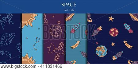 A Set Of Seamless Patterns. Hand Draw Space Illustration With A Rocket, Astronaut, Planets And Alien