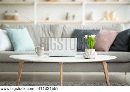 Scandinavian Style At Home, Coziness And Comfort In Apartment For Remote Work. Gray Sofa With Pillow