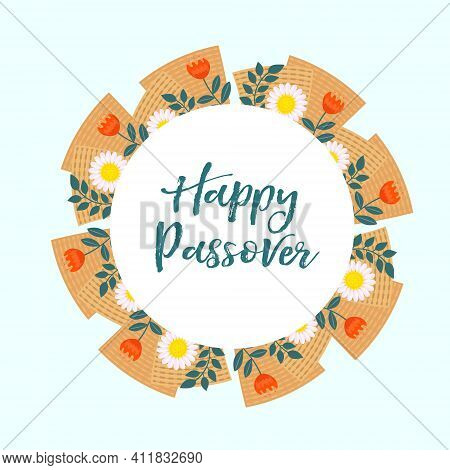 Passover Greeting Card, Poster, Invitation, Flyer. Pesach Template For Your Design With Matzah And S