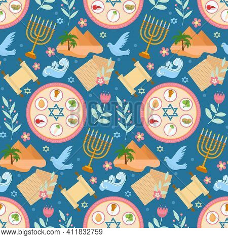 Passover Seamless Pattern. Pesach Endless Background, Texture. Jewish Holiday Backdrop. Vector Illus