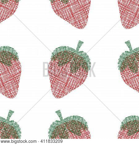 Strawberry Cotton Cut Out Seamless Vector Pattern Background. Frayed Edges Weave Stitch Effect Red B