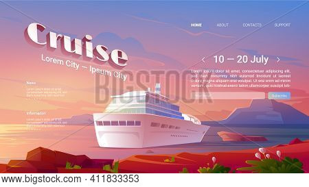 Sea Liner Cruise Cartoon Landing Page. Invitation To Booking Ticket On Modern Ship For Travel In Oce
