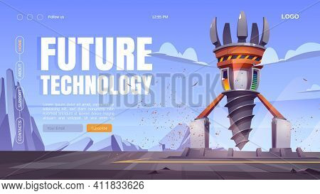 Future Technology Cartoon Landing Page With Futuristic Drilling Rig, Drill Ship For Exploration And