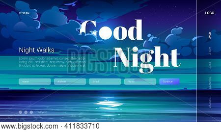 Good Night Walks Cartoon Landing Page With Full Moon In Sky With Stars Fluffy Clouds Above Ocean Wat