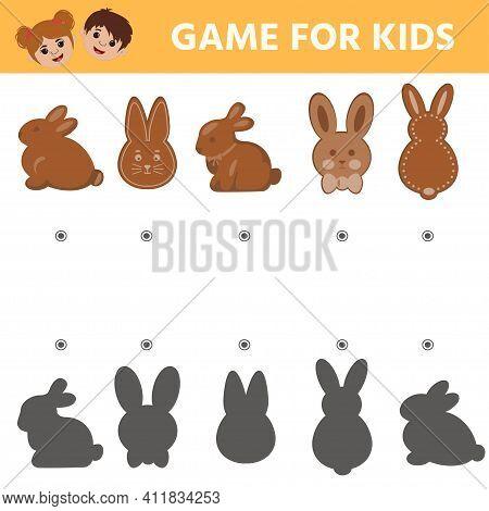 Education Logic Game For Kids. Easter Gingerbread. Printable Worksheet Vector Illustration. Childre