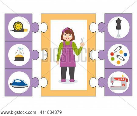 Education Game For Kids. Seamstress Puzzle. Illustrations Of Sewing Equipment. Set Of Cartoon Profes