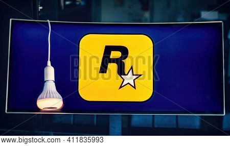 Monitor Logo Rockstar Games Software House Producer Of Video Games, Famous For Grand Theft Auto And