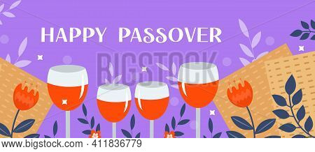 Passover Banner. Pesach Template For Your Design With Matzah And Spring Flowers. Happy Passover Insc