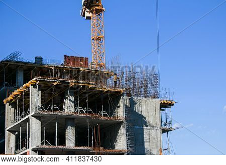 Construction Of A New Multi-storey Building. High-rise Welded Work In The Construction Of A Multi-st