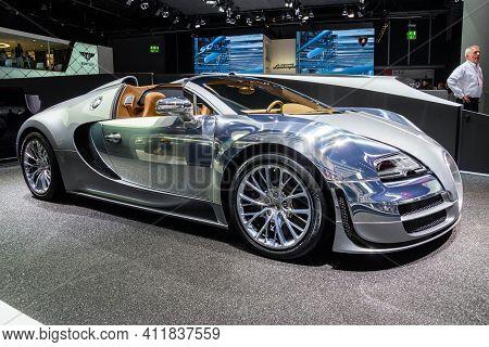 Frankfurt, Germany - Sep 13, 2013: Bugatti Veyron Grand Sport Lor Blanc Sports Car Showcased At The