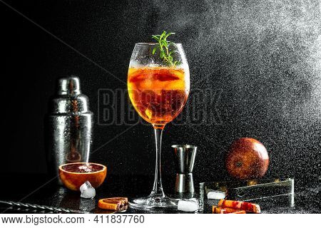 Aperol Spritz Aperitif With Oranges And Ice With Glass Bloody Oranges, Red Bitter, Dry White Wine, S