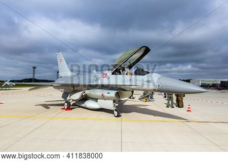 Royal Danish Air Force F-16 Fighter Jet On The Tarmac Of Laage Air Base. Germany - August 23, 2014