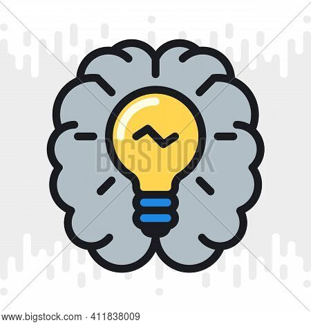 Inspiration Or Imagination Icon. Human Brain With A Light Bulb Inside. Simple Color Version On A Lig