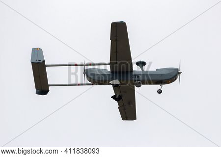 Belgian Air Component Iai Rq-5 Hunter Unmanned Aerial Vehicle (uav) In Flight Over Kleine-brogel Air