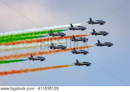 Italian Air Force Aerobatic Demonstration Team Frecce Tricolori In Their Aermacchi Mb339 Jet Aircraf