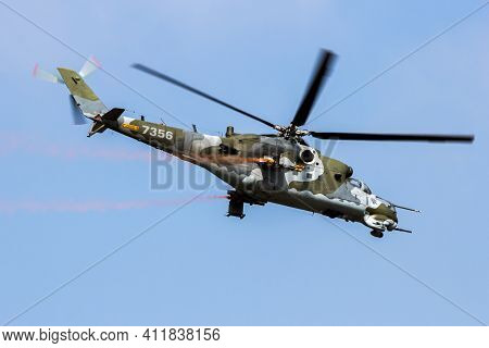 Czech Air Force Mi-24 Hind Attack Helicopter In Flight Over Kleine-brogel Airbase. Belgium - Septemb
