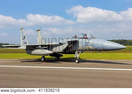 Kleine Brogel, Belgium - Sep 13, 2014: Us Air Force F-15d Eagle Fighter Jet From Raf Lakenheath On T